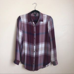 purple and white flannel